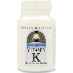 Source Naturals Vitamin K (500mcg) 200 tabs