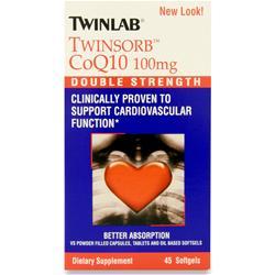 TwinLab TwinSorb CoQ10 (100mg)  BEST BY 11/16 45 sgels