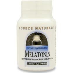 SOURCE NATURALS Melatonin  - Sublingual (2.5mg) Peppermint 120 tabs