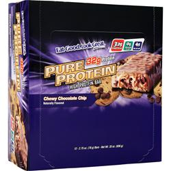 WORLDWIDE SPORTS Pure Protein Bar Chewy Chocolate Chip 12 bars