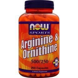 Now Arginine & Ornithine (500mg/250mg) 250 caps
