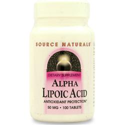 SOURCE NATURALS Alpha Lipoic Acid (50mg) 100 tabs