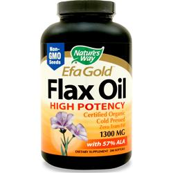 Nature's Way EFA Gold Flax Oil High Potency - Certified Organic (1300mg) 200 sgels