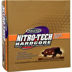 MUSCLETECH Nitro-Tech Hardcore Protein Bar Chocolate Crisp 12 bars