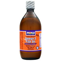 NOW Omega-3 Fish Oil Lemon Flavored 16.9 fl.oz