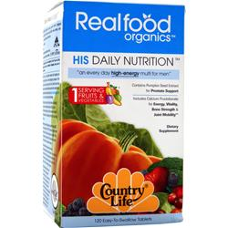 COUNTRY LIFE Real Food Organics Men's Daily Nutrition 120 tabs