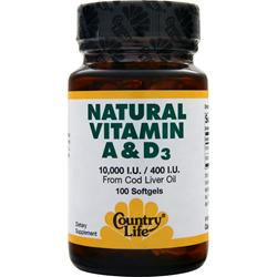 COUNTRY LIFE Natural Vitamin A & D3 (10000IU/400IU) 100 sgels