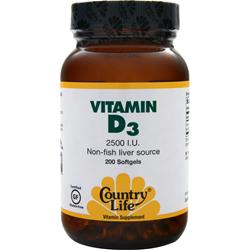 COUNTRY LIFE Vitamin D3 (2500IU) 200 sgels
