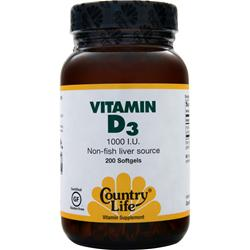 COUNTRY LIFE Vitamin D3 (1000IU) 200 sgels