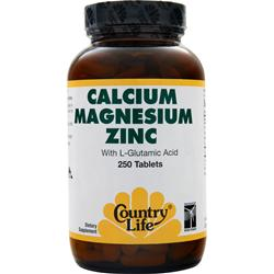 COUNTRY LIFE Calcium Magnesium Zinc with L-Glutamic Acid 250 tabs