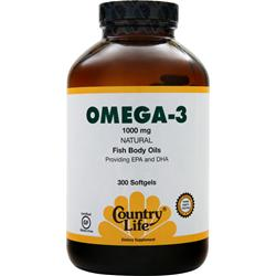 COUNTRY LIFE Omega-3 Fish Oil (1000mg) 300 sgels