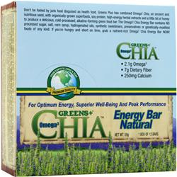 GREENS PLUS Omega 3 Chia Energy Bar Natural 12 bars