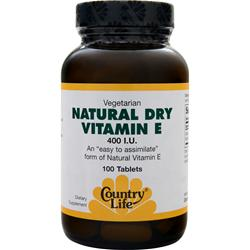 Country Life Natural Dry Vitamin E (400IU) 100 tabs