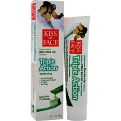 KISS MY FACE Organic Aloe Vera Triple Action Toothpaste Cool Mint 3.4 fl.oz